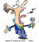 Clip Art of an Obnoxious Loud Man in a Blue Suit, Singing the Anthem by Toonaday
