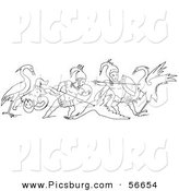 Clip Art of an Old Fashioned Vintage Battle Between Cranes and Pygmies Black and White 2 by Picsburg
