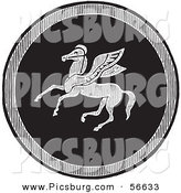 Clip Art of an Old Fashioned Vintage Black and White Emblazoned Pegasus Shield by Picsburg
