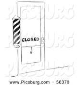 Clip Art of an Old Fashioned Vintage Closed Barber Shop Black and White by Picsburg