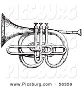 Clip Art of an Old Fashioned Vintage Cornet and Pistons in Black and White by Picsburg