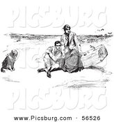 Clip Art of an Old Fashioned Vintage Couple and Dog on a Beach in Black and White by Picsburg