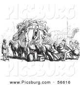 Clip Art of an Old Fashioned Vintage Crowd Attacking an Omnibus in Black and White by Picsburg