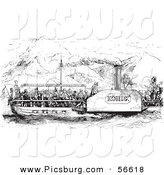 Clip Art of an Old Fashioned Vintage Crowded Rhine Boat in Black and White by Picsburg