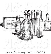 Clip Art of an Old Fashioned Vintage Eau De Cologne Bottles in Black and White by Picsburg