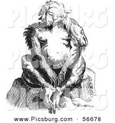 Clip Art of an Old Fashioned Vintage Fantasy Ape Creature Sitting Black and White by Picsburg