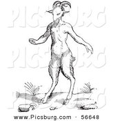 Clip Art of an Old Fashioned Vintage Fantasy Satyr or Pan Black and White by Picsburg
