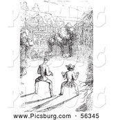 Clip Art of an Old Fashioned Vintage Guard Dog Scaring Men in Black and White by Picsburg