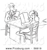 Clip Art of an Old Fashioned Vintage Hungry Man Eating His Menu While out with a Lady Black and White by Picsburg