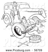 Clip Art of an Old Fashioned Vintage Man and Woman Struggling with Changing a Car Tire Black and White by Picsburg
