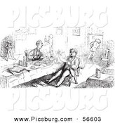 Clip Art of an Old Fashioned Vintage Men Eating and Reading in Black and White by Picsburg