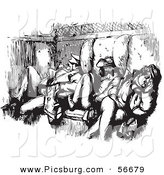 Clip Art of an Old Fashioned Vintage Men Sleeping in a Train Car in Black and White by Picsburg