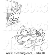 Clip Art of an Old Fashioned Vintage Office Worker Man Leaping out a Window at a Meeting Black and White by Picsburg