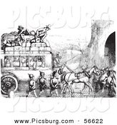 Clip Art of an Old Fashioned Vintage Soldiers Stopping an Omnibus in Black and White by Picsburg