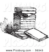 Clip Art of an Old Fashioned Vintage Stack of Books in Black and White by Picsburg