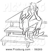 Clip Art of an Upset Boy Sitting on Steps - Black and White Line Art by Picsburg