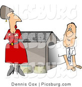 Clip Art of an Upset Moody Wife Watching Husband Crawl out of the Doghouse by Djart