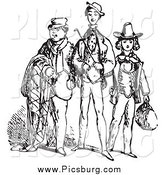 Clip Art of Black and White Gentlemen by Picsburg