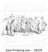 Clip Art of Black and White Men and Soldiers Arguing by Picsburg