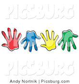 Clip Art of Diverse Colorful Hand Prints by Andy Nortnik