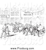 Clip Art of Drunk Men on a Vintage Street in Black and White by Picsburg