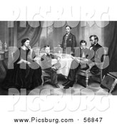 Clip Art of Family Portrait of Willie, Robert, Tad, Mr and Mrs Abraham Lincoln Sitting Around a Table in 1861 by Picsburg
