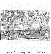 Clip Art of Fantasy Feasting Giants - Black and White Line Drawing by Picsburg