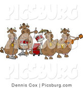 Clip Art of Four Spotted Brown Female Cows Playing in a Music Band by Djart