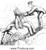Clip Art of Friends Assisting a Man up a Hill in Black and White by Picsburg