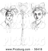 Clip Art of Girls with Peasant Headdresses in Black and White by Picsburg