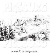 Clip Art of Guards Approaching an Artist, in Black and White by Picsburg