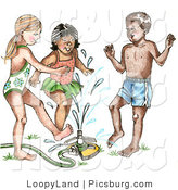 Clip Art of Happy Summer Children Running Through a Sprinkler by LoopyLand