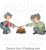Clip Art of Homosexual Cowboys Roasting Hot Dogs over a Campfire - Weeny Roast by Djart