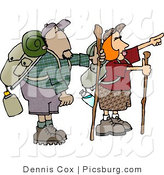 Clip Art of Male and Female Hikers Hiking with Backpacks, Canteens, Sleeping Bags, and Walking Sticks, Pointing off in the Distance at Something by Djart