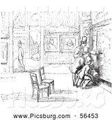 Clip Art of Men in an Art Gallery in Black and White by Picsburg