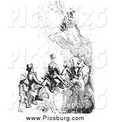 February 16th, 2014: Clip Art of Men Riding Mules on a Cliff Side, Black and White by Picsburg