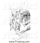 Clip Art of Men Walking by a Woman, in Black and White by Picsburg