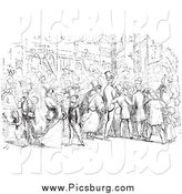 Clip Art of People in a Street in Black and White by Picsburg