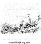 Clip Art of Retro Men Hiking in Black and White by Picsburg