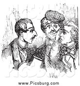 Clip Art of Retro Talking Men in Black and White by Picsburg