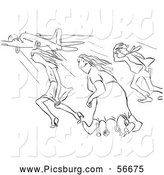 Clip Art of Retro Vintage Creative Woman and Two Others in Strong Winds at the Airport in Black and White - Coloring Page Outline by Picsburg