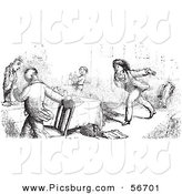 Clip Art of Retro Vintage Men Panicking in a Restaurant in Black and White by Picsburg