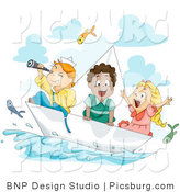 Clip Art of Sailor Kids on a Paper Sailboat by BNP Design Studio