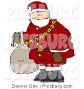 Clip Art of Santa Carrying Bag of Toys and Wearing a Jingle Bell Belt by Djart