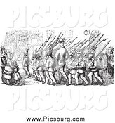 Clip Art of Street Scene of People Watching Marching Soldiers in Black and White by Picsburg