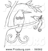 Clip Art of Two Birds of Paradise in a Tree - Black and White Line Art by Picsburg