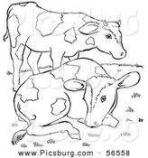 Clip Art of Two Farm Cows on a Hill - Black and White Line Art by Picsburg
