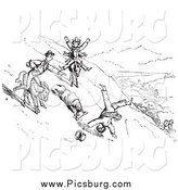 Clip Art of Vintage Man Falling off a Donkey on a Hillside by Picsburg