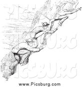 Clip Art of Vintage Men Climbing in Black and White by Picsburg