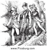 Clip Art of Vintage Men Hiking on a Steep Hill by Picsburg